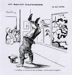 Abel Faivre, Le difficile ce n'est pas de faire un tableau, c'est de savoir le regarder, caricature du salon d'automne, 1907.
